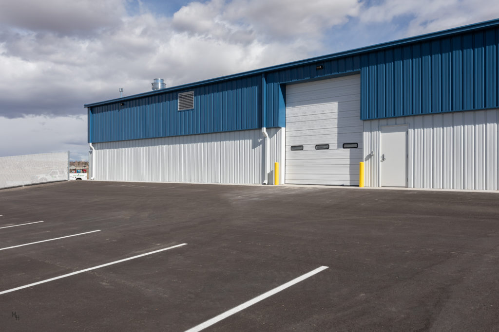 mitchell heating overhead door exterior facing south